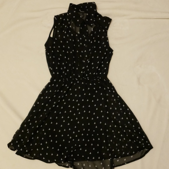 Forever 21 Dresses & Skirts - Sheer Black Cutout Collared Dress (includes slip)